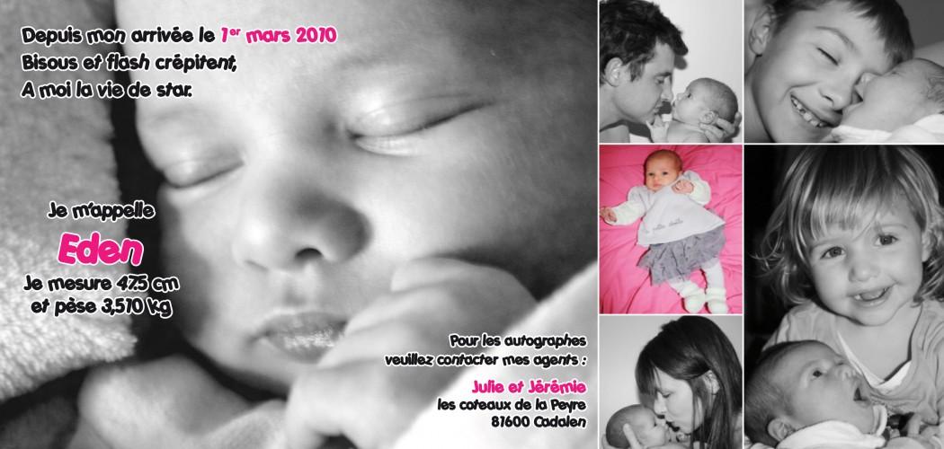 Faire-part de naissance Eden -Mw communication - Graphiste Webmaster Montauban Toulouse